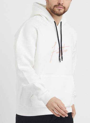 XHAN Pudra Baskılı Sweatshirt 1Kxe8-44367-50 Beyaz